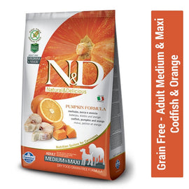 Farmina N&D Grain Free Codfish & Orange Adult Medium & Maxi Dog Food - pet-club-india