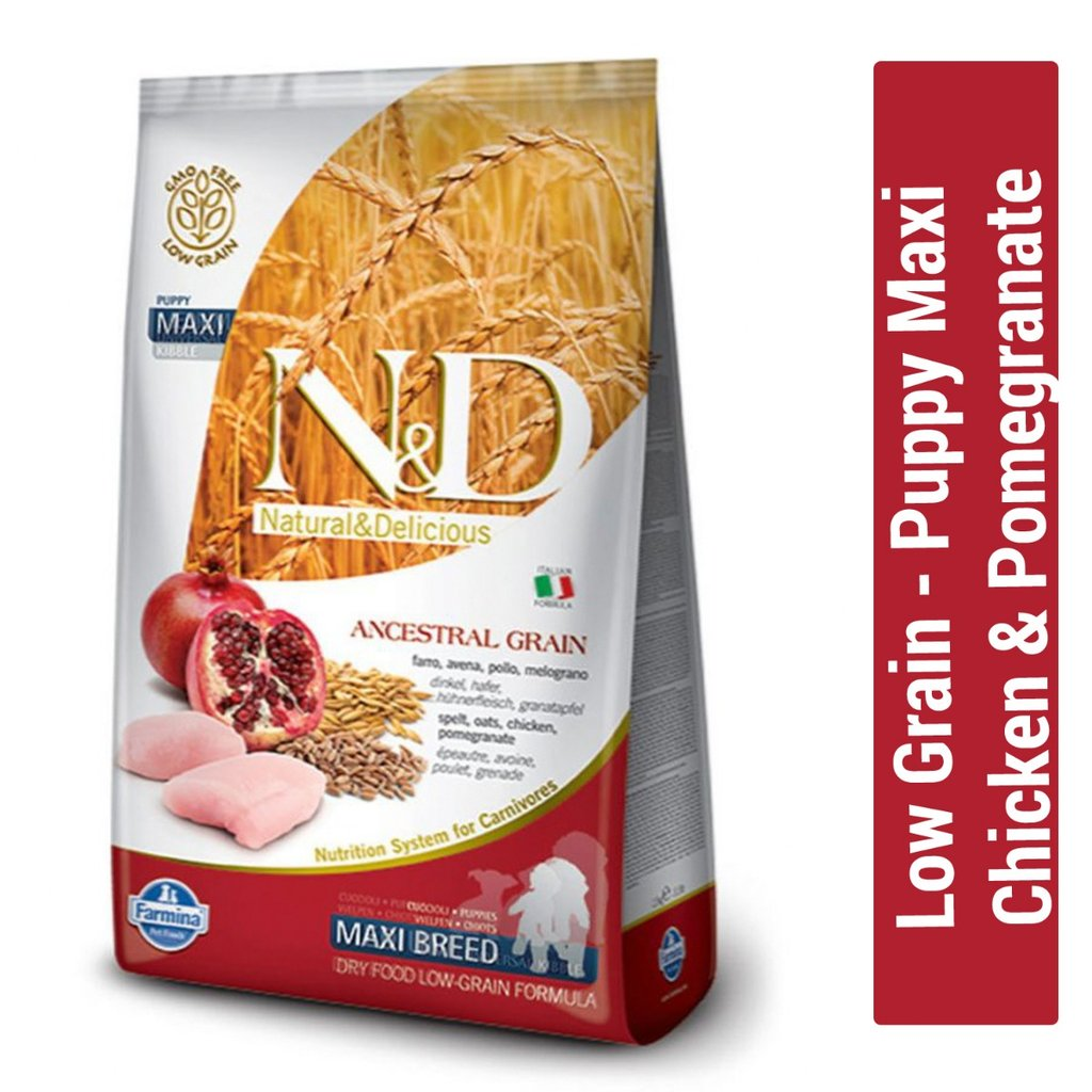 Farmina N&D Low Grain Chicken & Pomegranate Puppy Maxi Dog Food - pet-club-india
