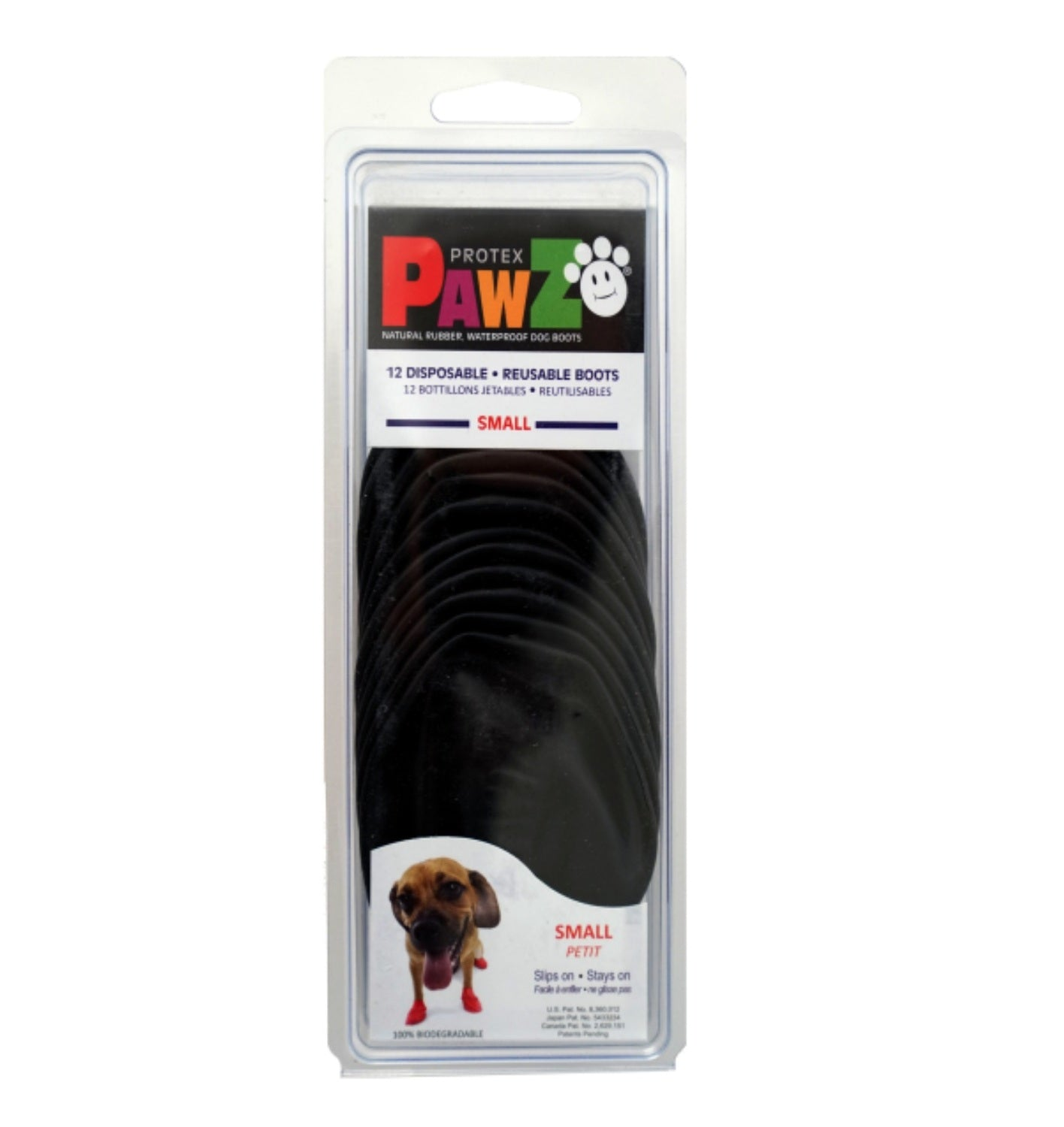 Pawz Protex Waterproof Dog Rubber Boots Black (Set of 12) - pet-club-india