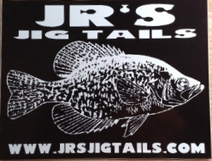 Jr's Jig Tails Black & White Bucket Sticker