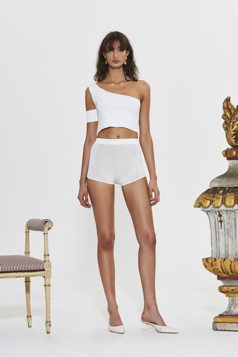 ALEXANDRE ONE SHOULDER RIBBED CROP