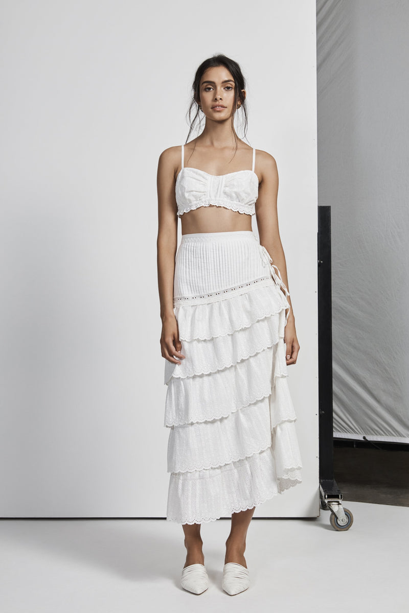 CELIE PLEATED MIDI SKIRT