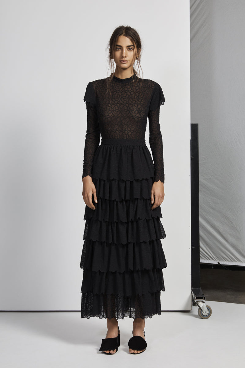 FLORRIÉ EMBROIDERED RUFFLE GOWN