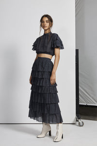 FREDERIQUE TIERED MIDI SKIRT