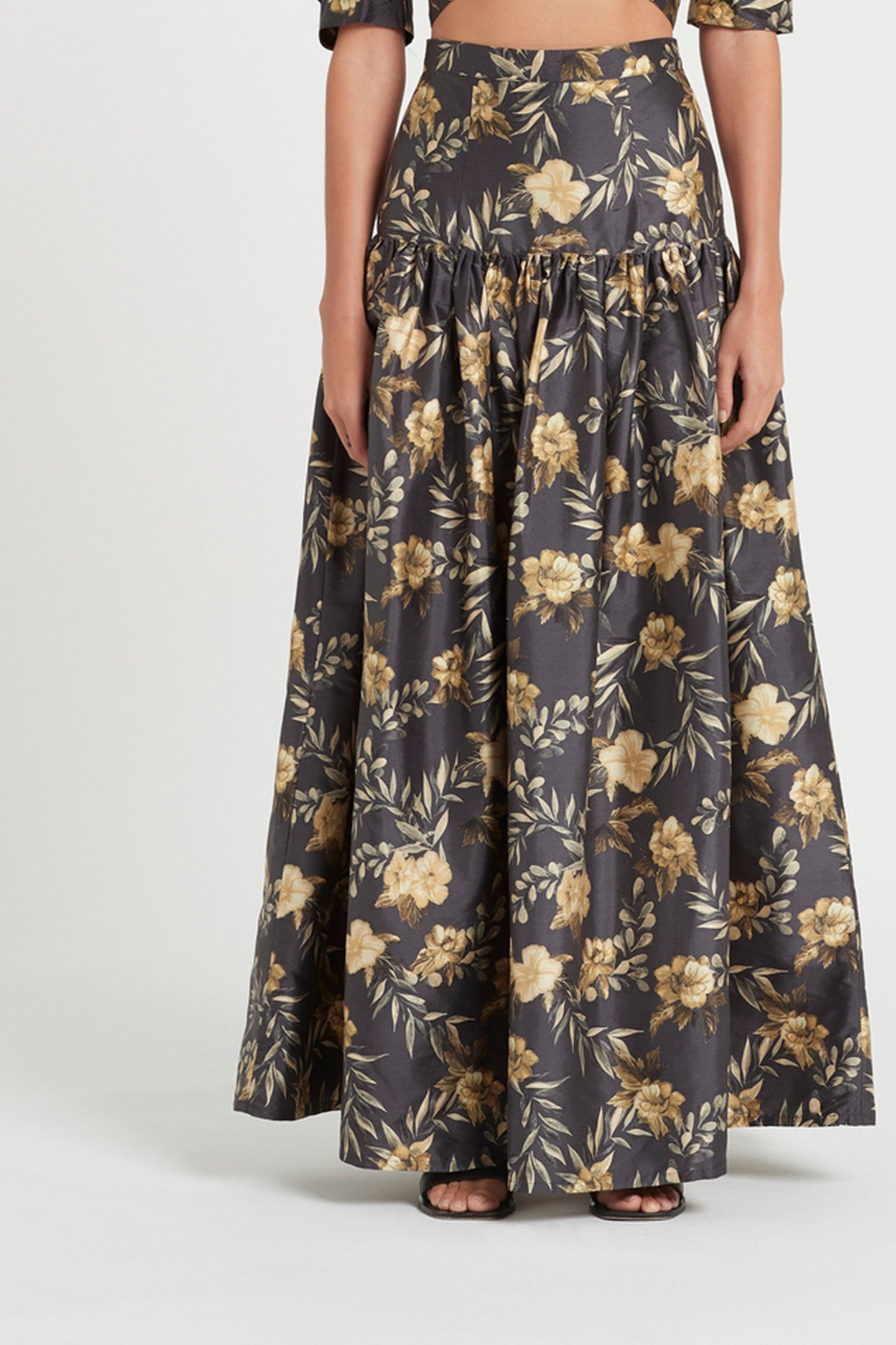 SIR the label CARMEN MAXI SKIRT CHARCOAL LITA PRINT