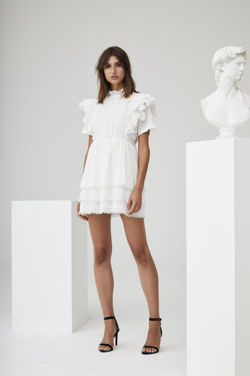 LUCILLE EMBROIDERED RUFFLE MINI