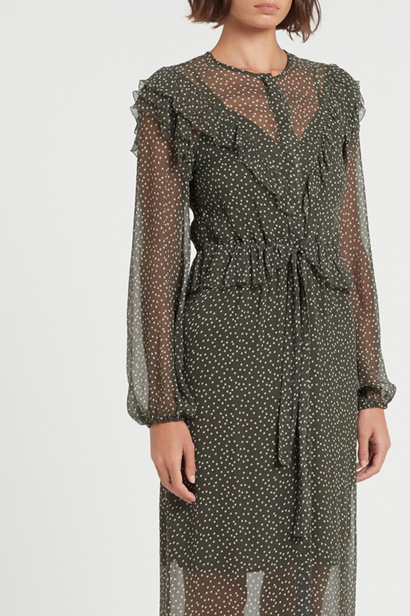 SIR the label ISABELLA LONG SLEEVE MIDI DRESS OLIVE POLKA DOT