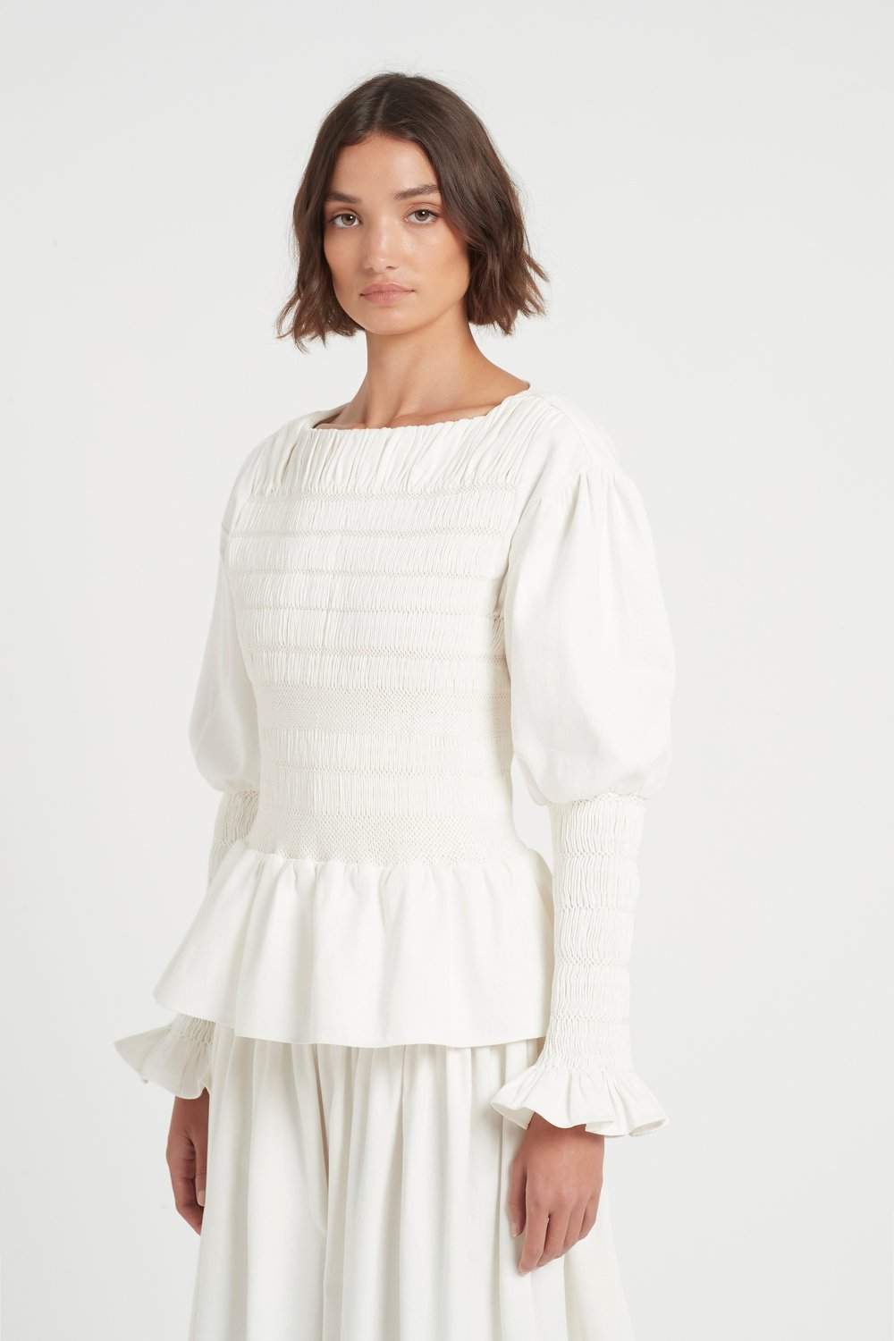 SIR the label ARLO SMOCKED TOP IVORY