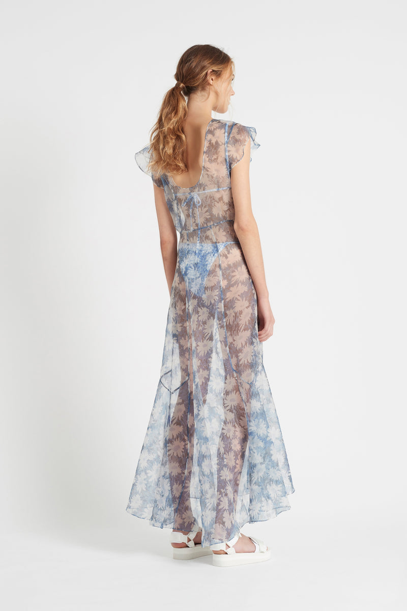 SIR the label ANAIS LOW BACK GOWN BLUE ANAIS PRINT