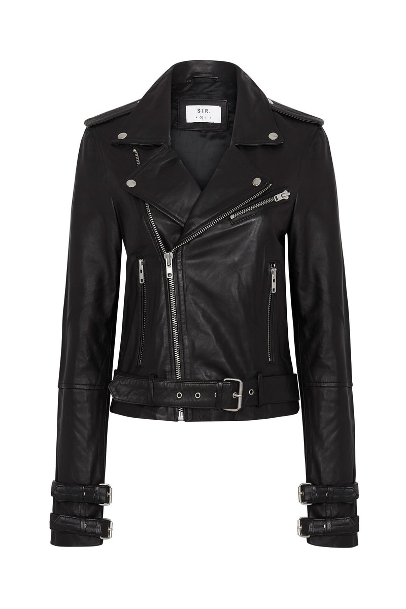 VERA LEATHER JACKET WITH BUCKLE CUFF