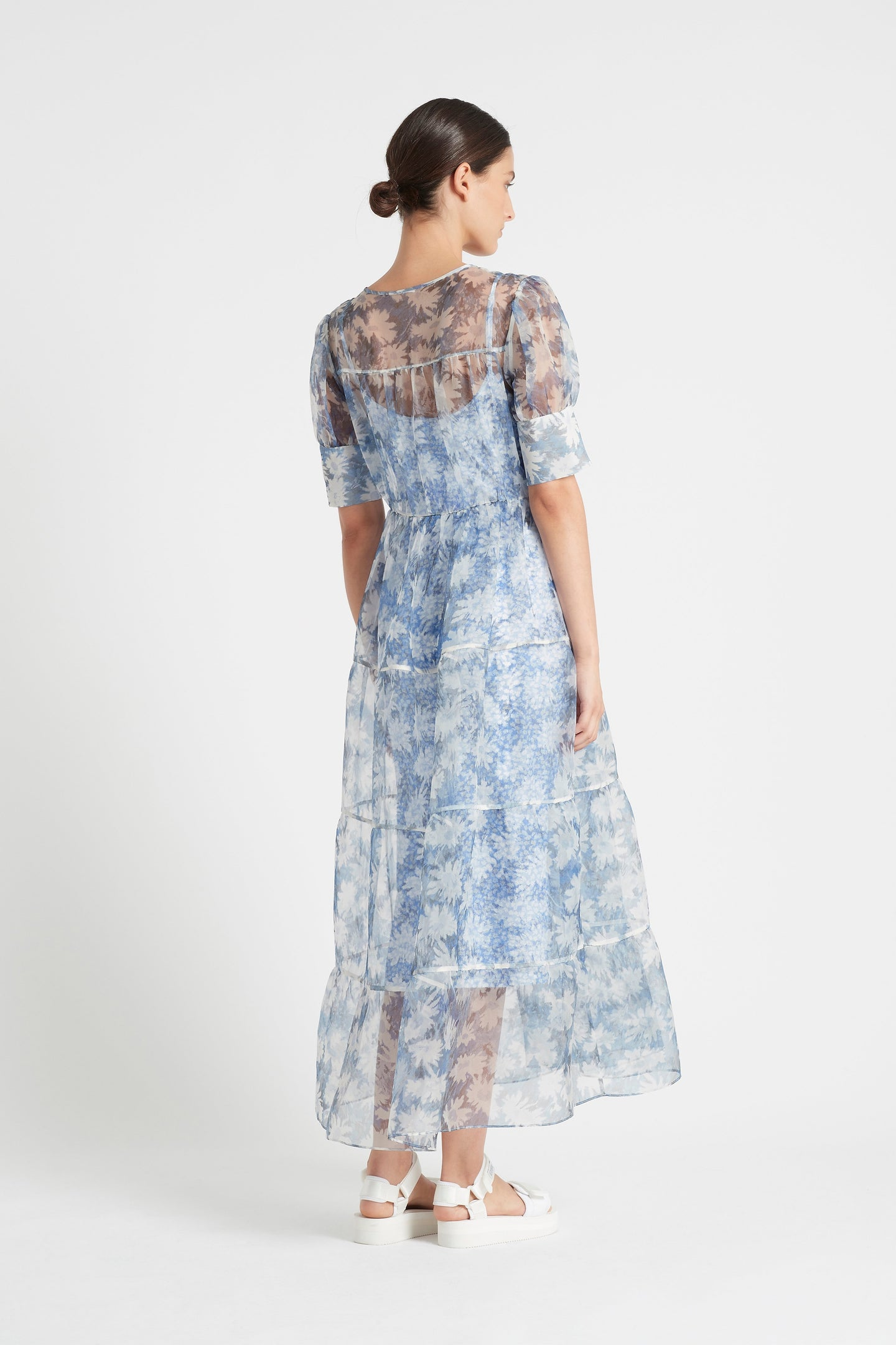 SIR the label ANAIS PUFF SLEEVE GOWN BLUE ANAIS PRINT