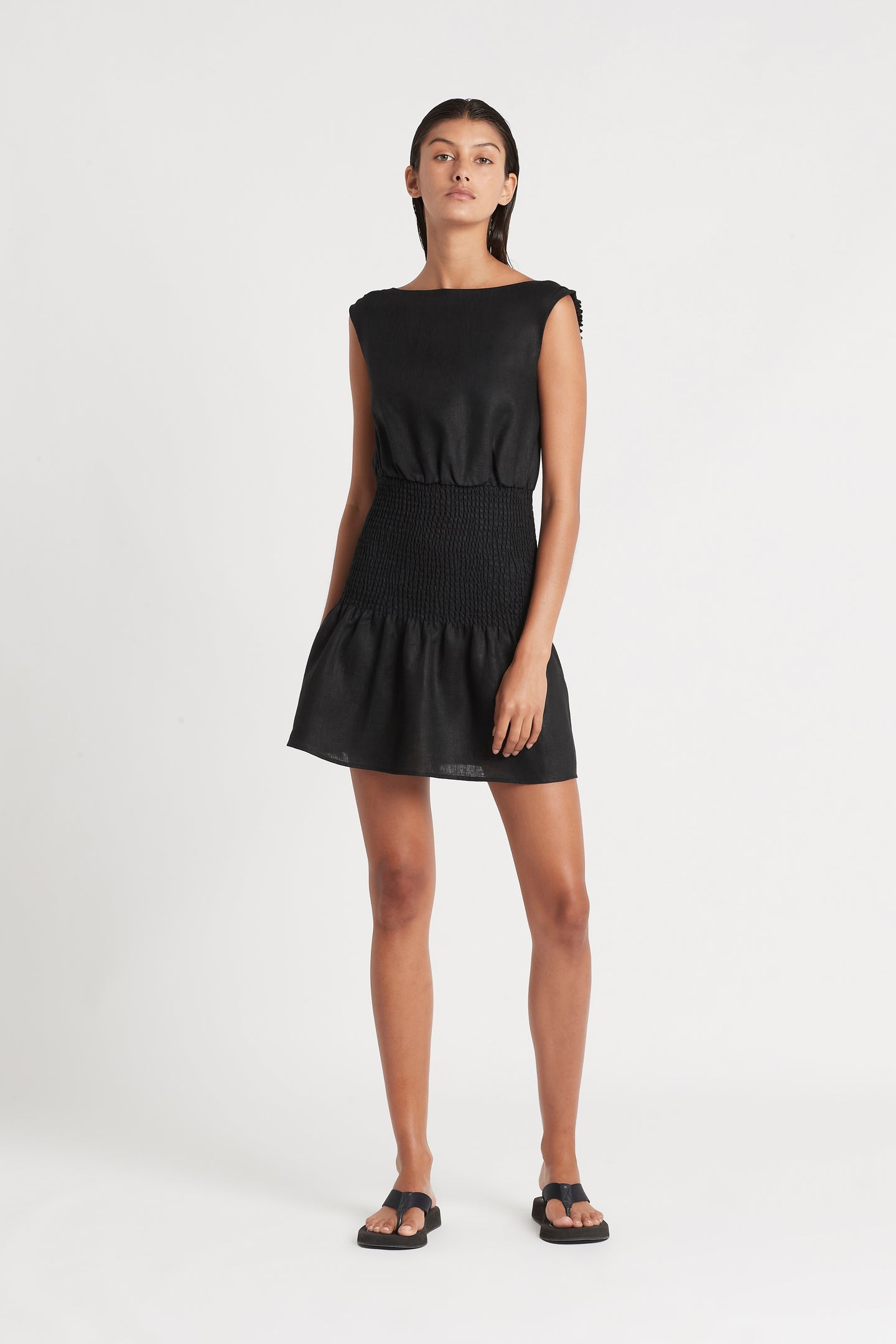 SIR the label LORENA OPEN BACK MINI DRESS BLACK