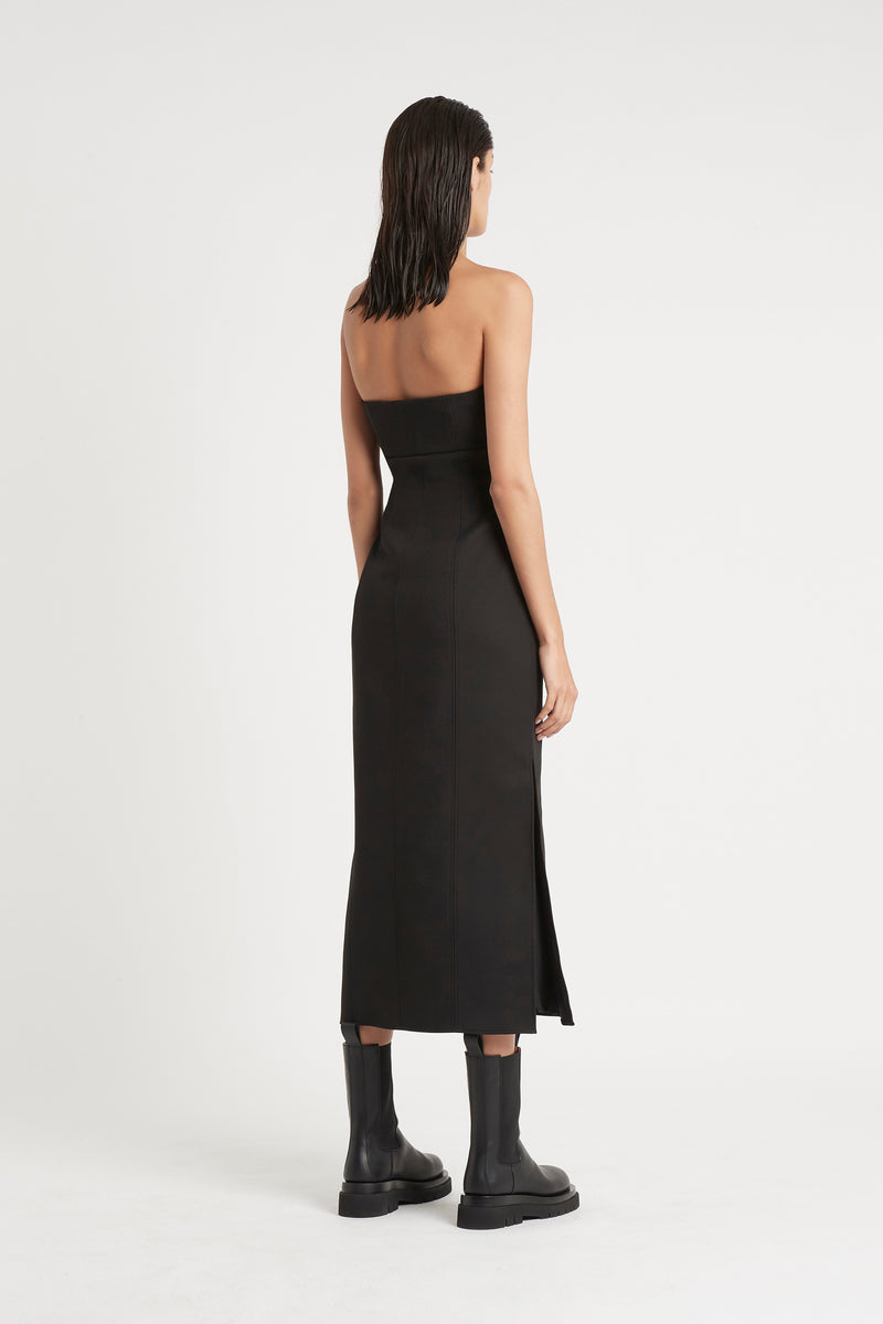 SIR the label ANDRE STRAPLESS MIDI DRESS BLACK