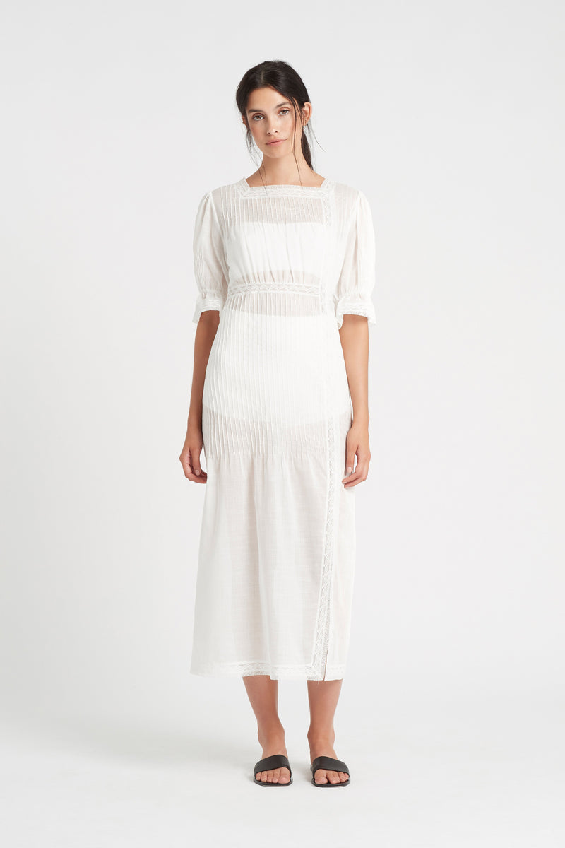 SIR the label CAPRICE PLEATED MIDI DRESS IVORY