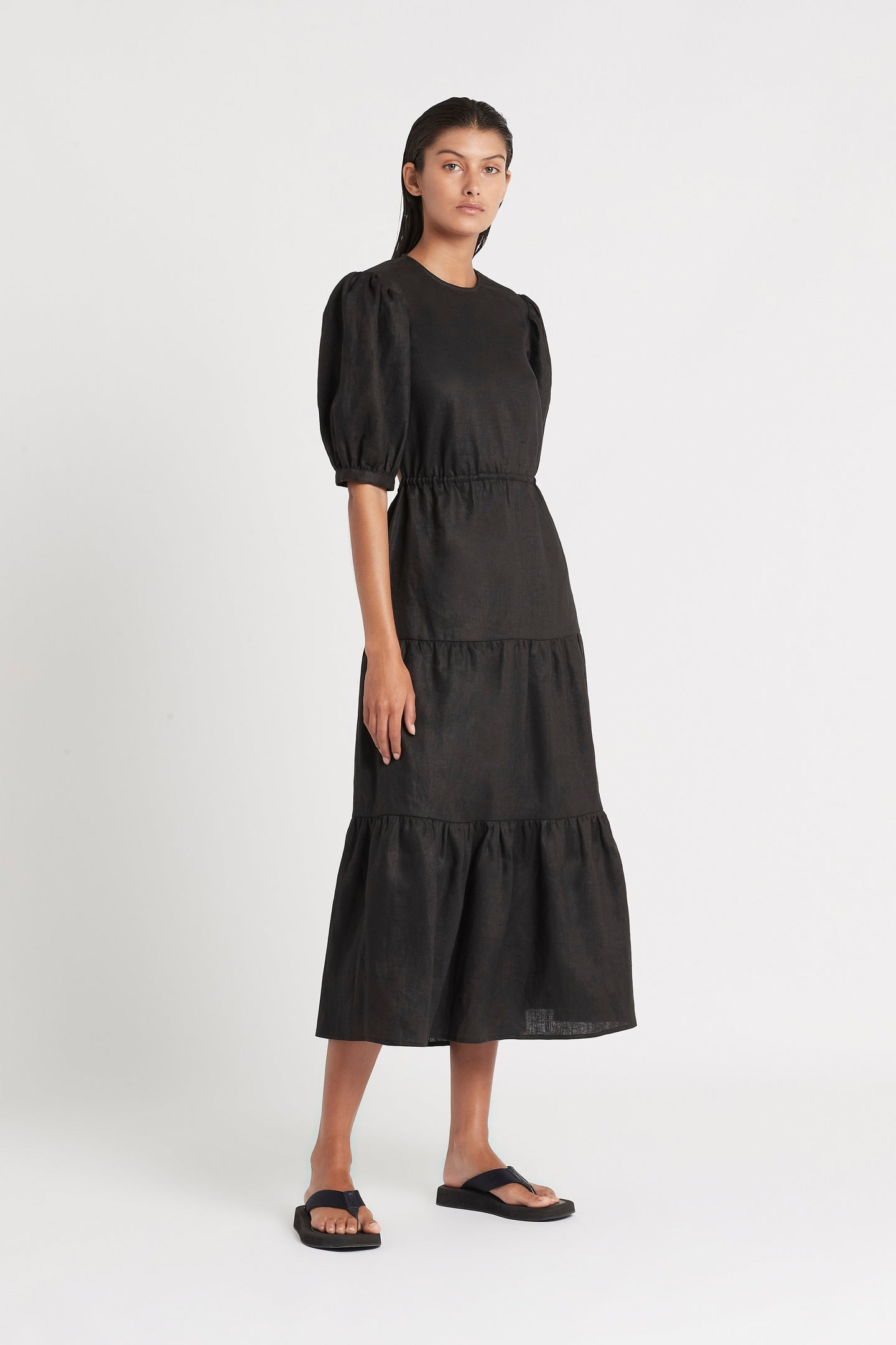 SIR the label LORENA TIERED MIDI DRESS BLACK