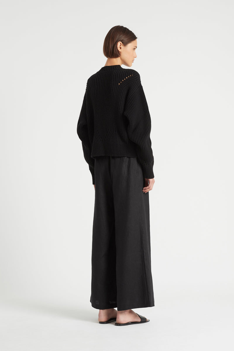 SIR the label FRANCA POINTELLE SWEATER BLACK