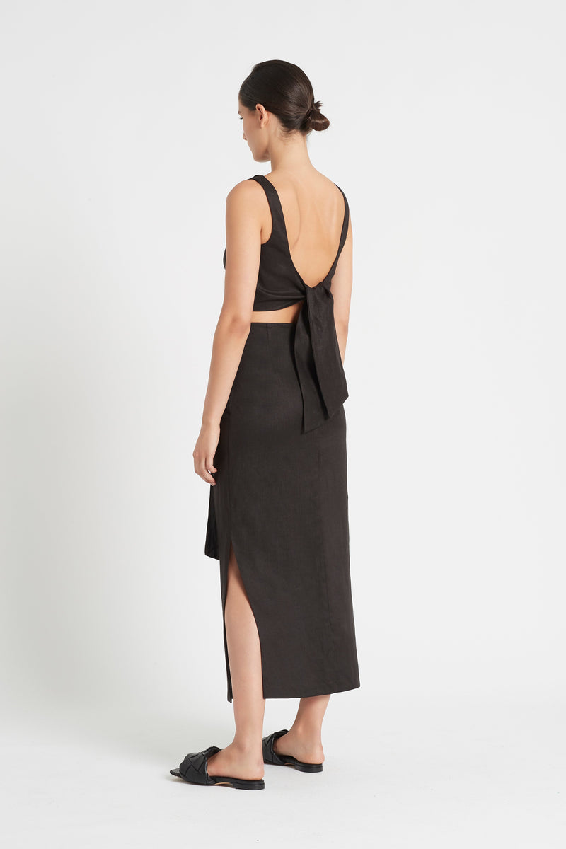 SIR the label AMBROISE TIE MIDI SKIRT BLACK