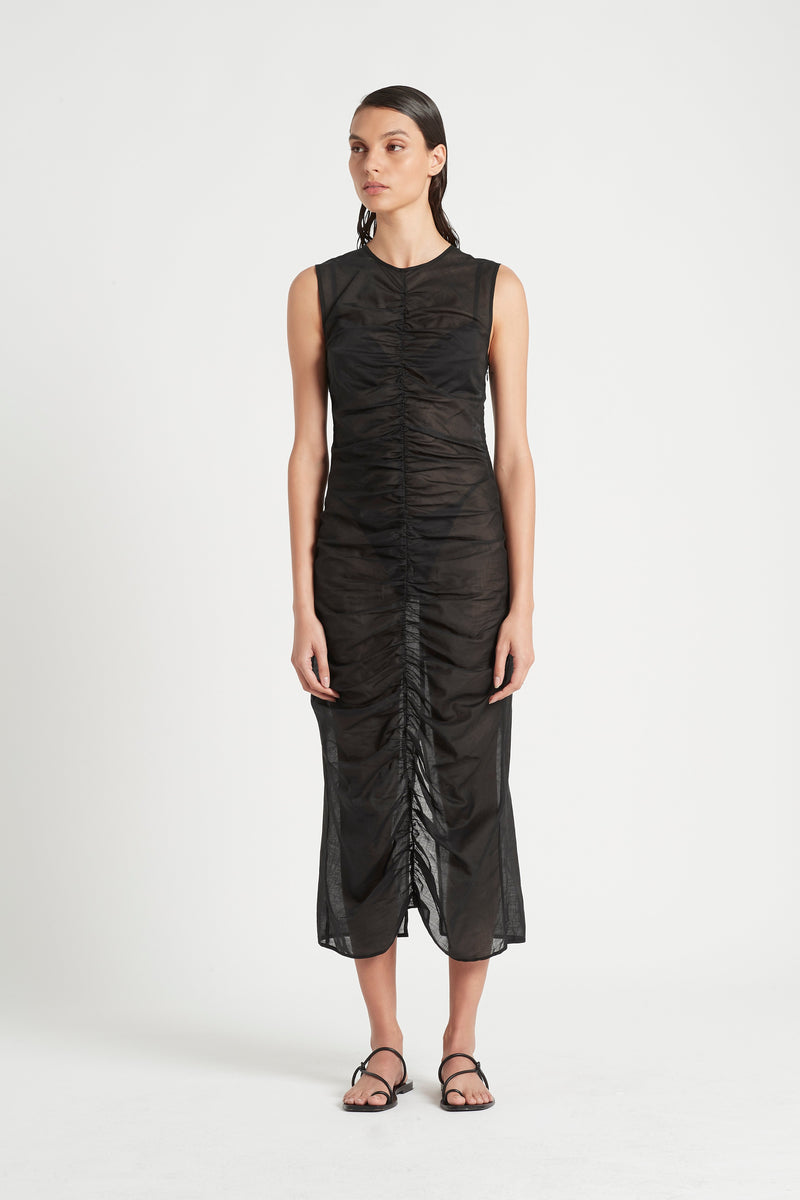 SIR the label ALINA RUCHED MIDI DRESS BLACK