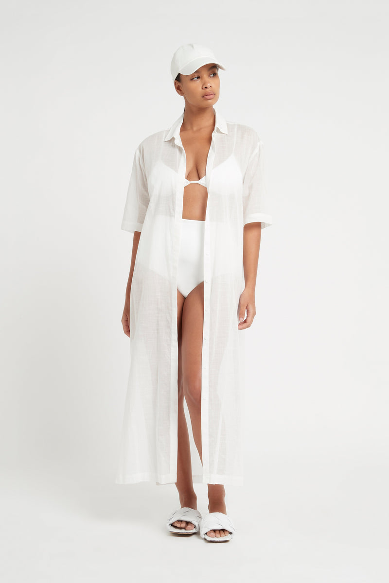 SIR the label ALINA MAXI SHIRT DRESS IVORY