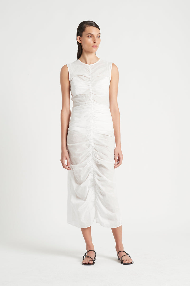 ALINA RUCHED MIDI DRESS