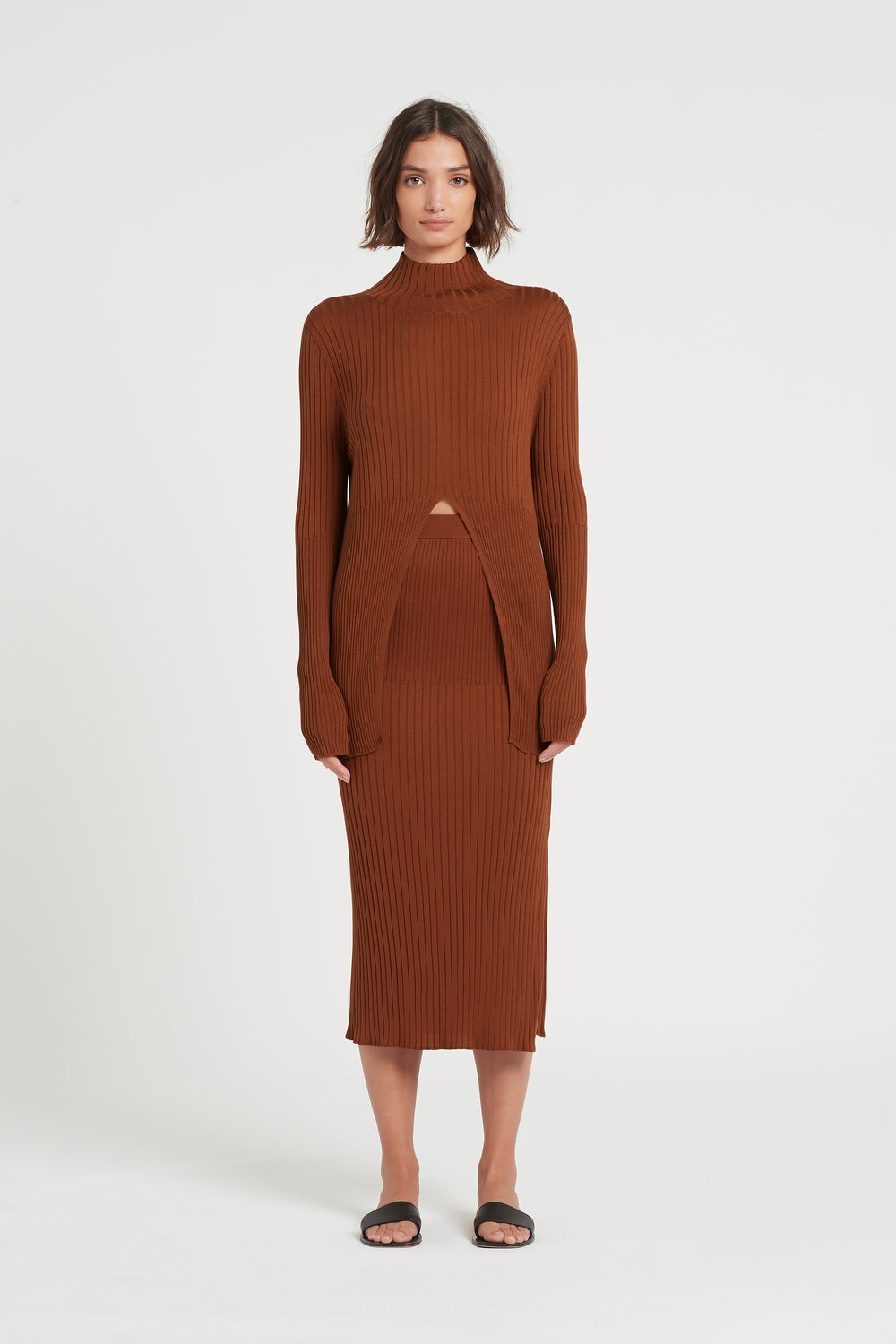SIR the label ASTRID SPLIT SWEATER RUST