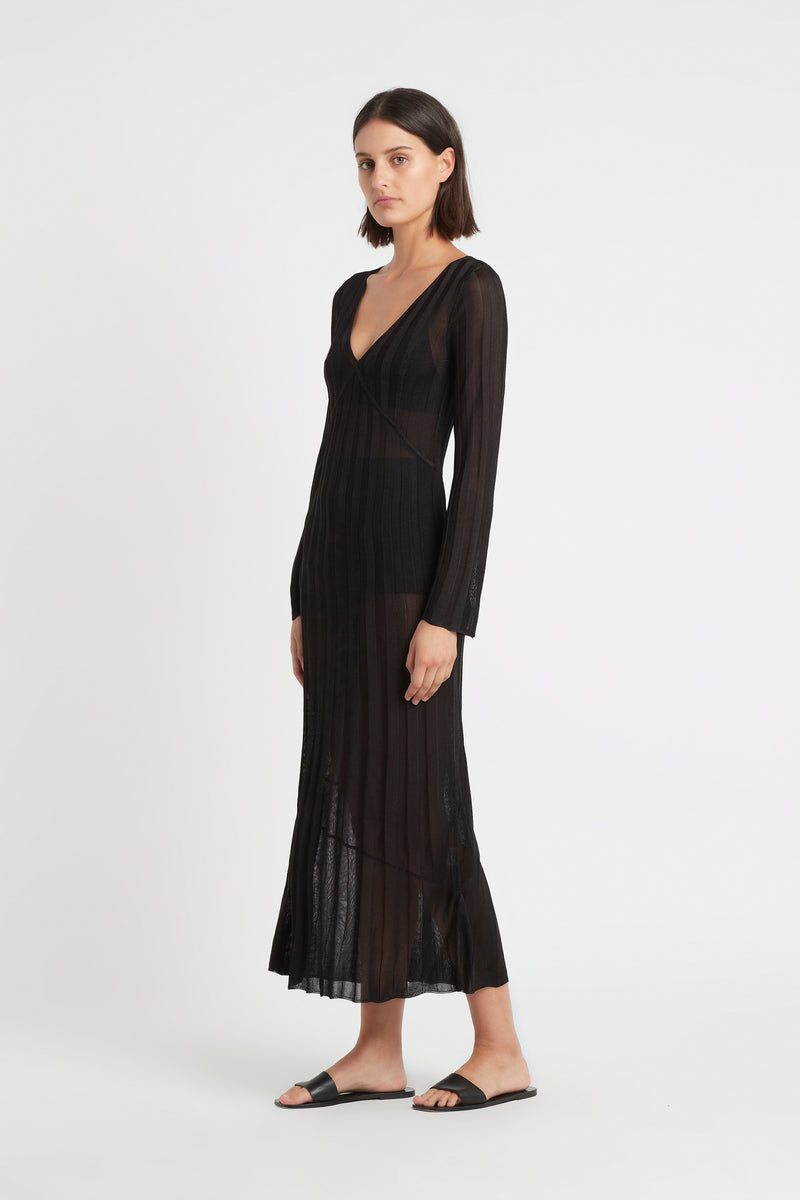 AYA V NECK MIDI DRESS
