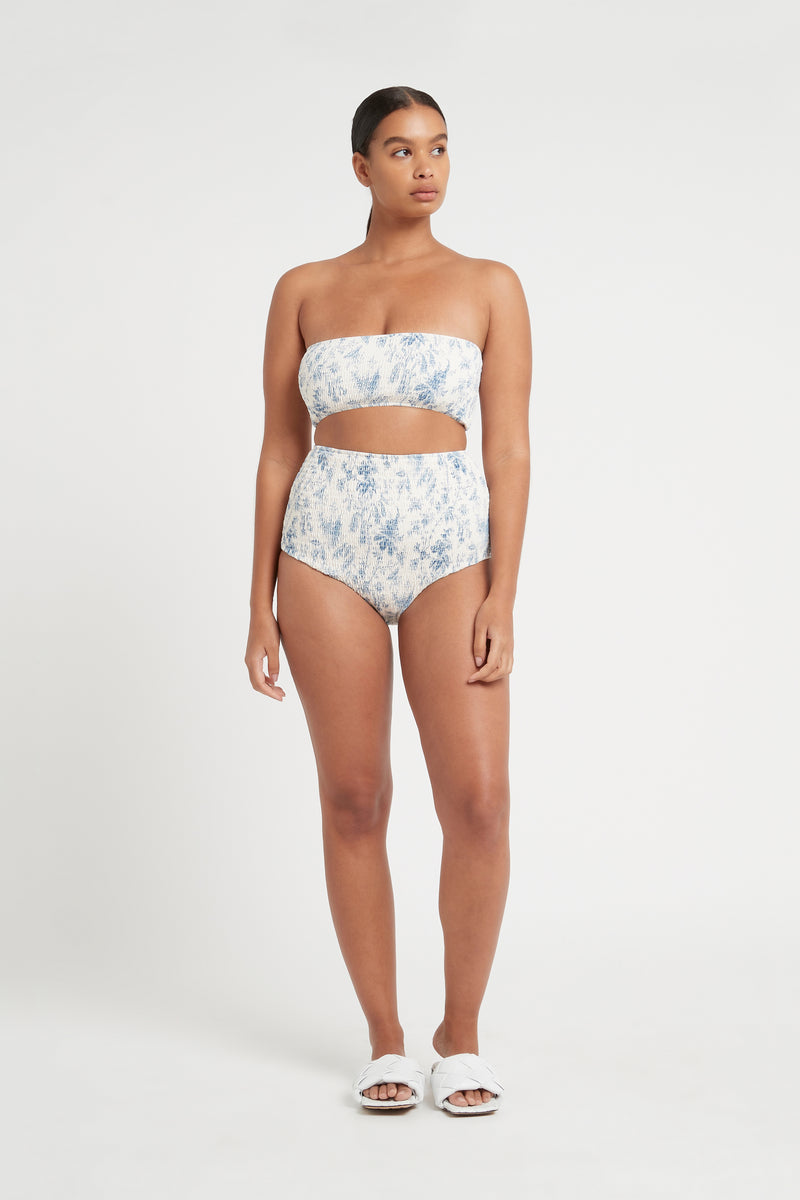 SIR the label CLEMENTINE RUCHED HIGH BRIEF BLUE CLEMENTINE PRINT