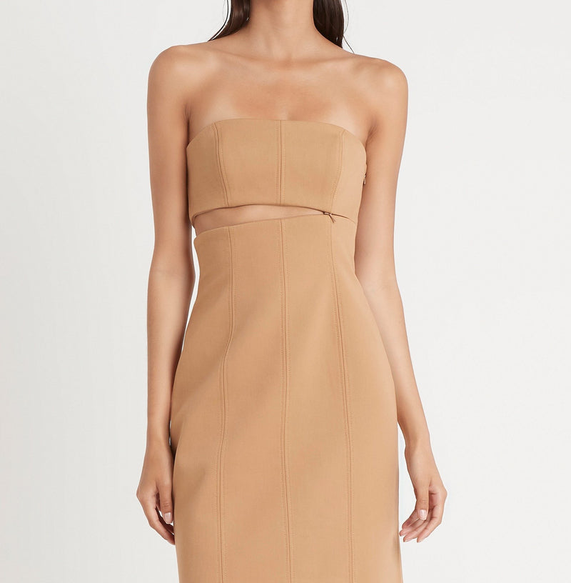 SIR the label ANDRE STRAPLESS MIDI DRESS CAMEL