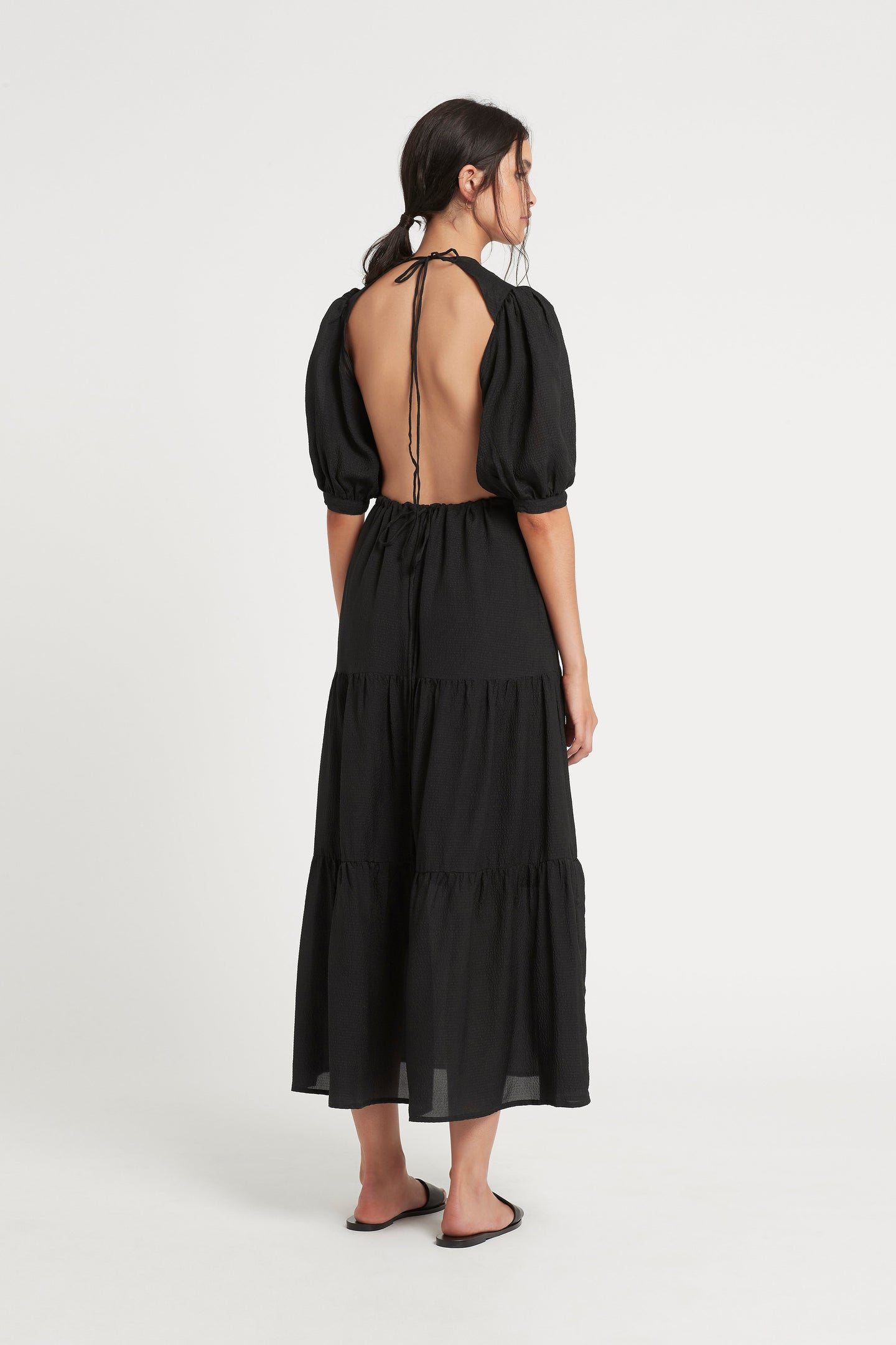SIR the label INDRE OPEN BACK MIDI DRESS BLACK