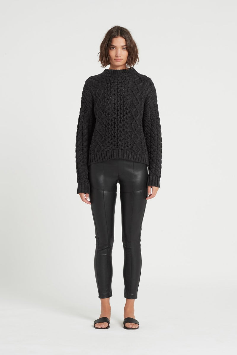 SIR the label AVA CABLE SWEATER BLACK