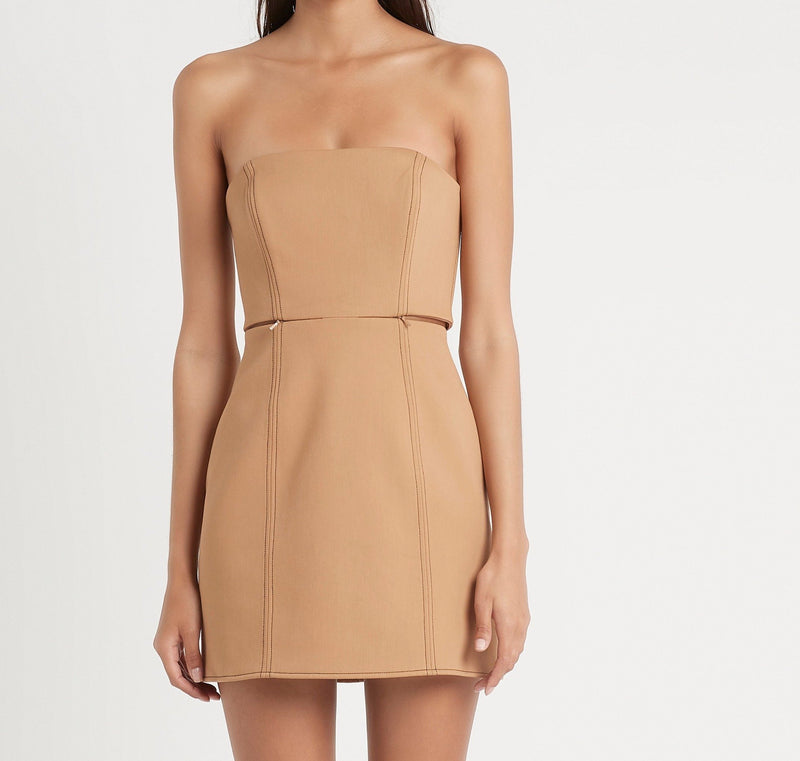 SIR the label ANDRE STRAPLESS MINI DRESS CAMEL