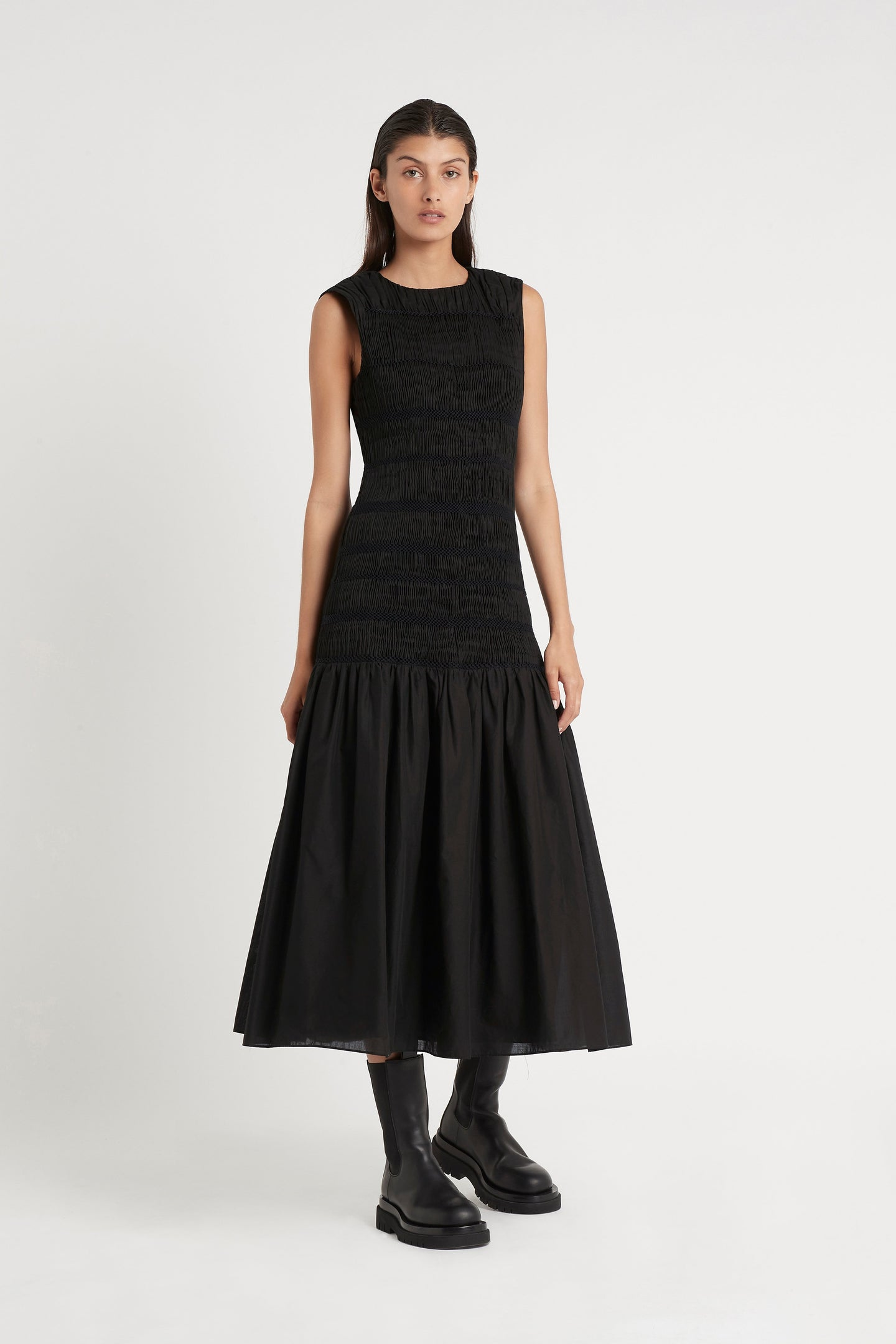 SIR the label CECIL SMOCKED MIDI DRESS BLACK