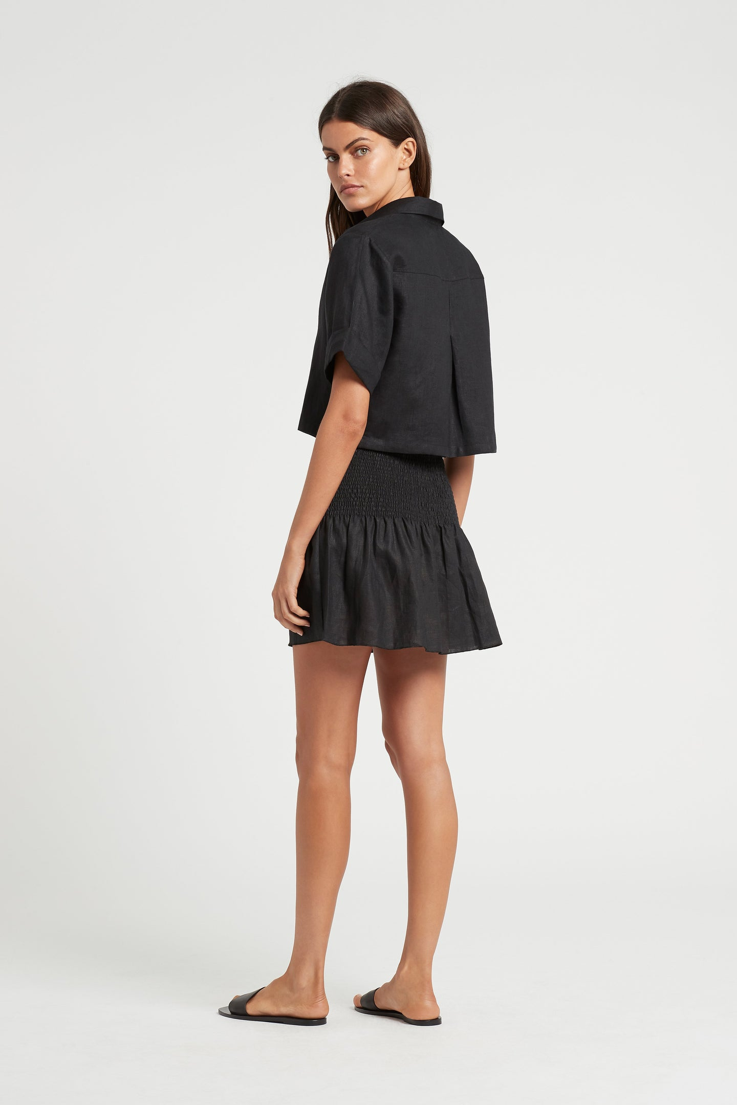 SIR the label ALENA RUCHED MINI SKIRT BLACK