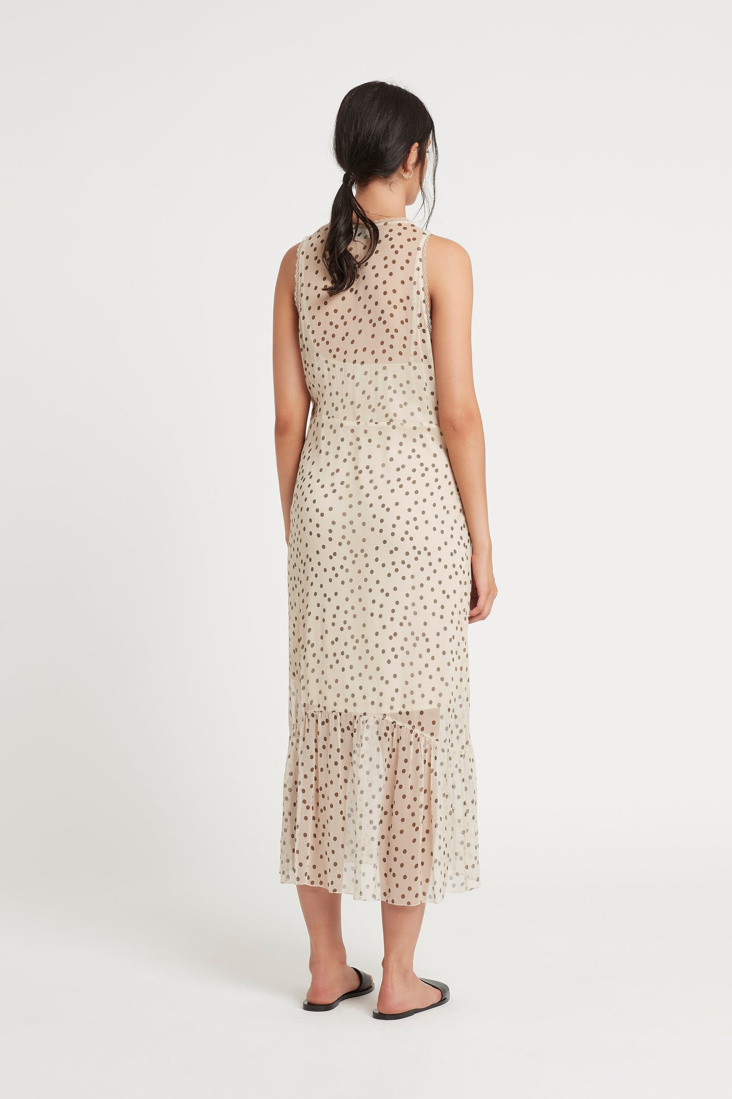 SIR the label ISABELLA SLIP DRESS BONE POLKA DOT