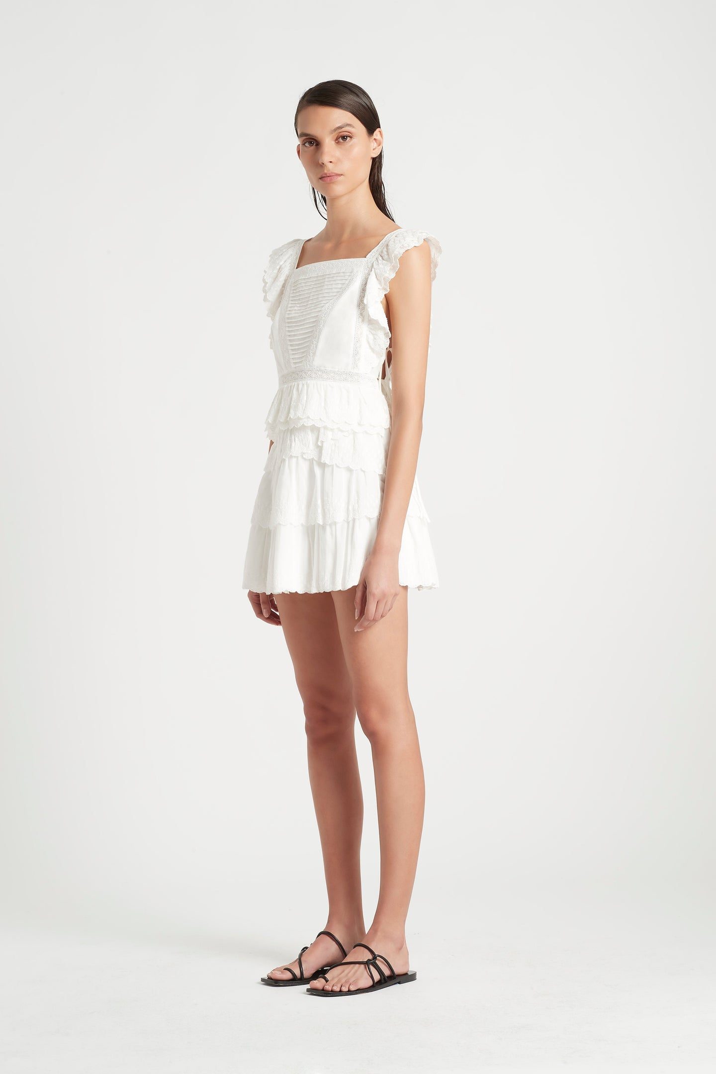 SIR the label MAISIE RUFFLE SKIRT IVORY