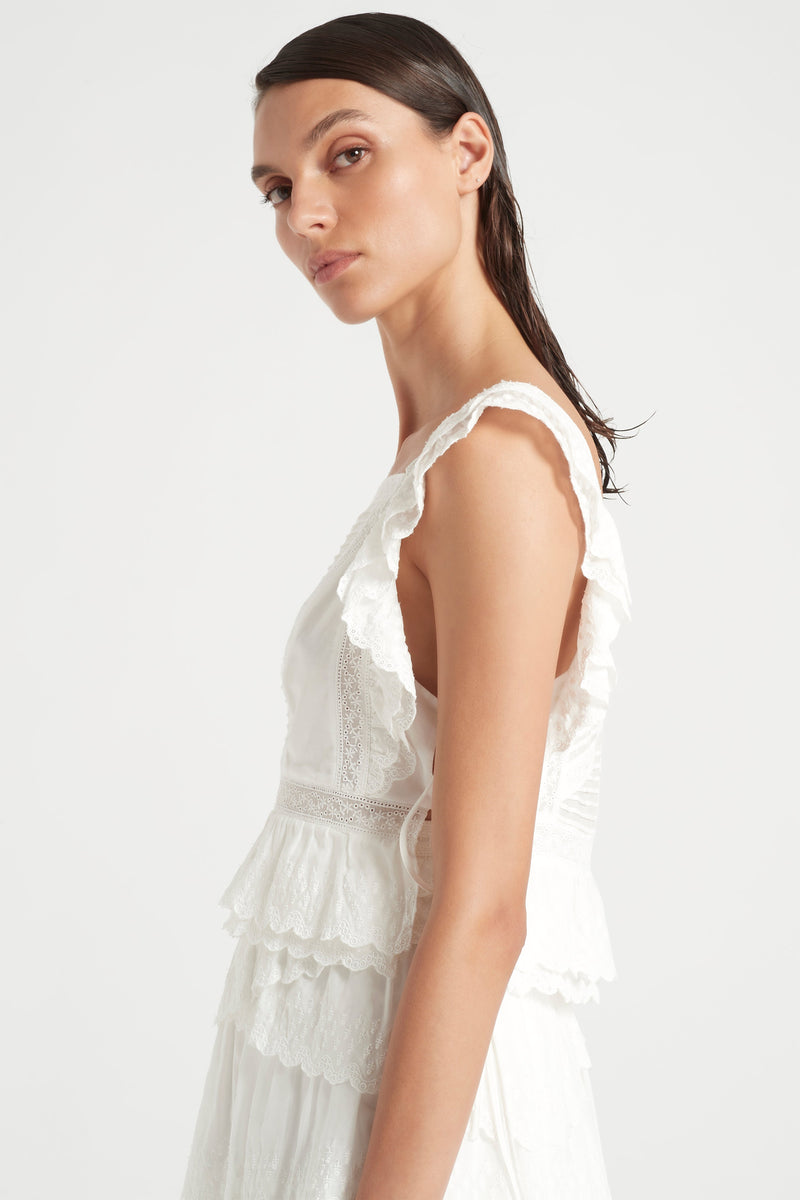 SIR the label MAISIE RUFFLE TOP IVORY