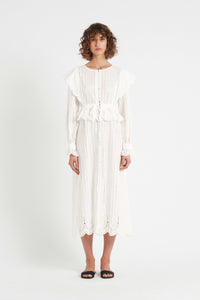 LEILA BUTTON DOWN MIDI DRESS