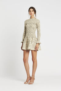 SACHI LONG SLEEVE RUCHED MINI DRESS