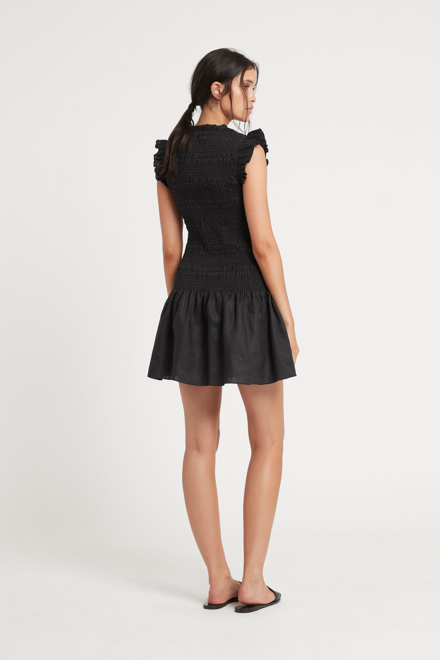 SIR the label EMILE RUCHED MINI DRESS BLACK