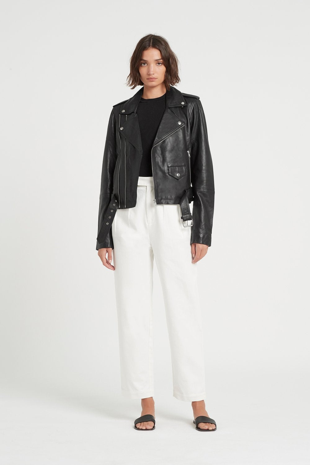SIR the label JEROME BELTED LEATHER JACKET BLACK