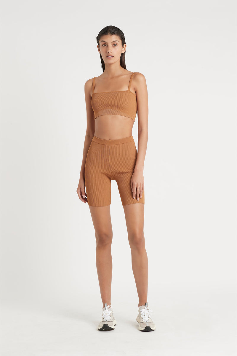 SIR the label JASPER CROP TWO-COLOUR CAMEL