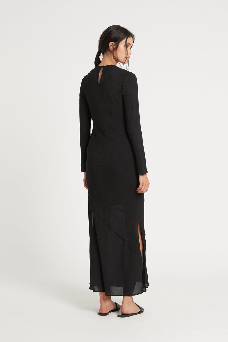 SIR the label INDRE LONG SLEEVE MIDI DRESS BLACK