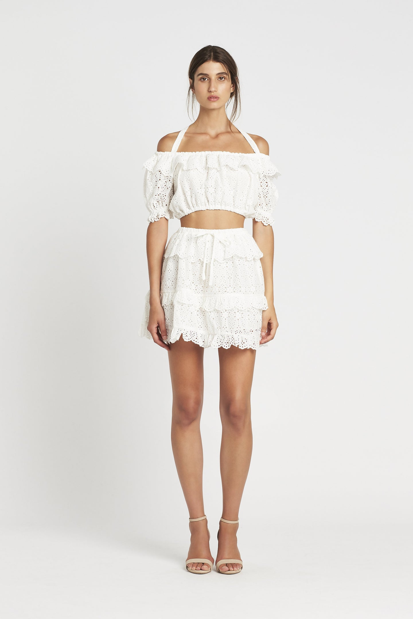 SIR the label AMELIE RUFFLE MINI SKIRT IVORY