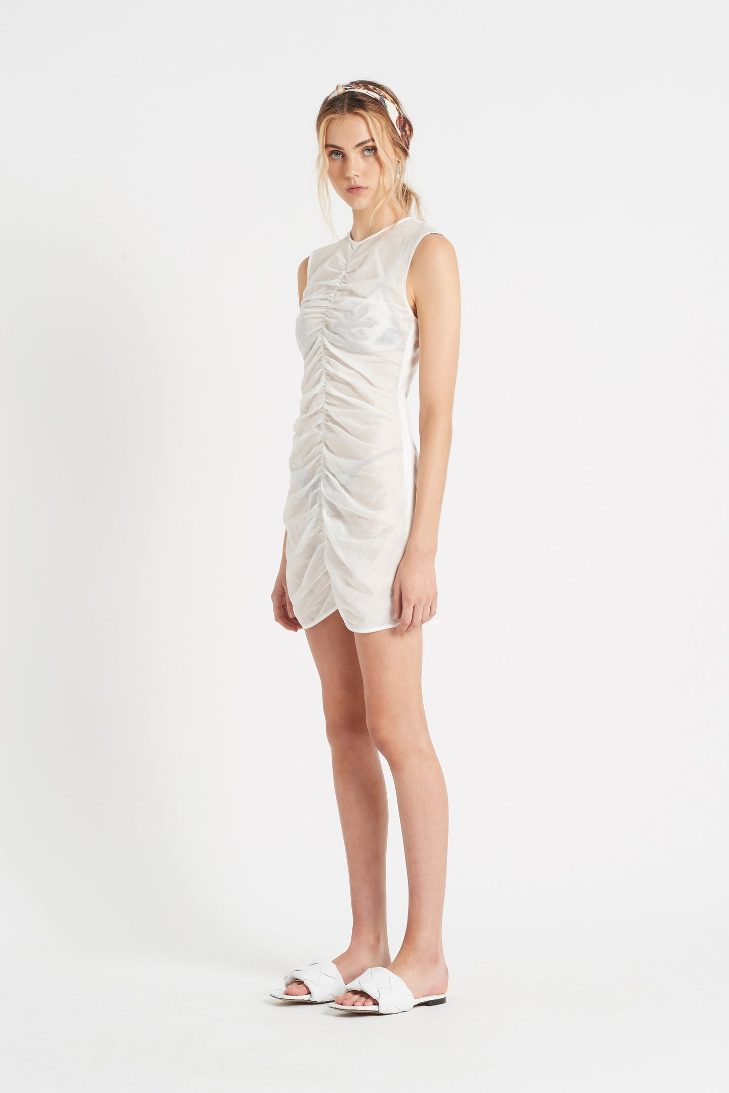 SIR the label ALINA RUCHED MINI DRESS IVORY