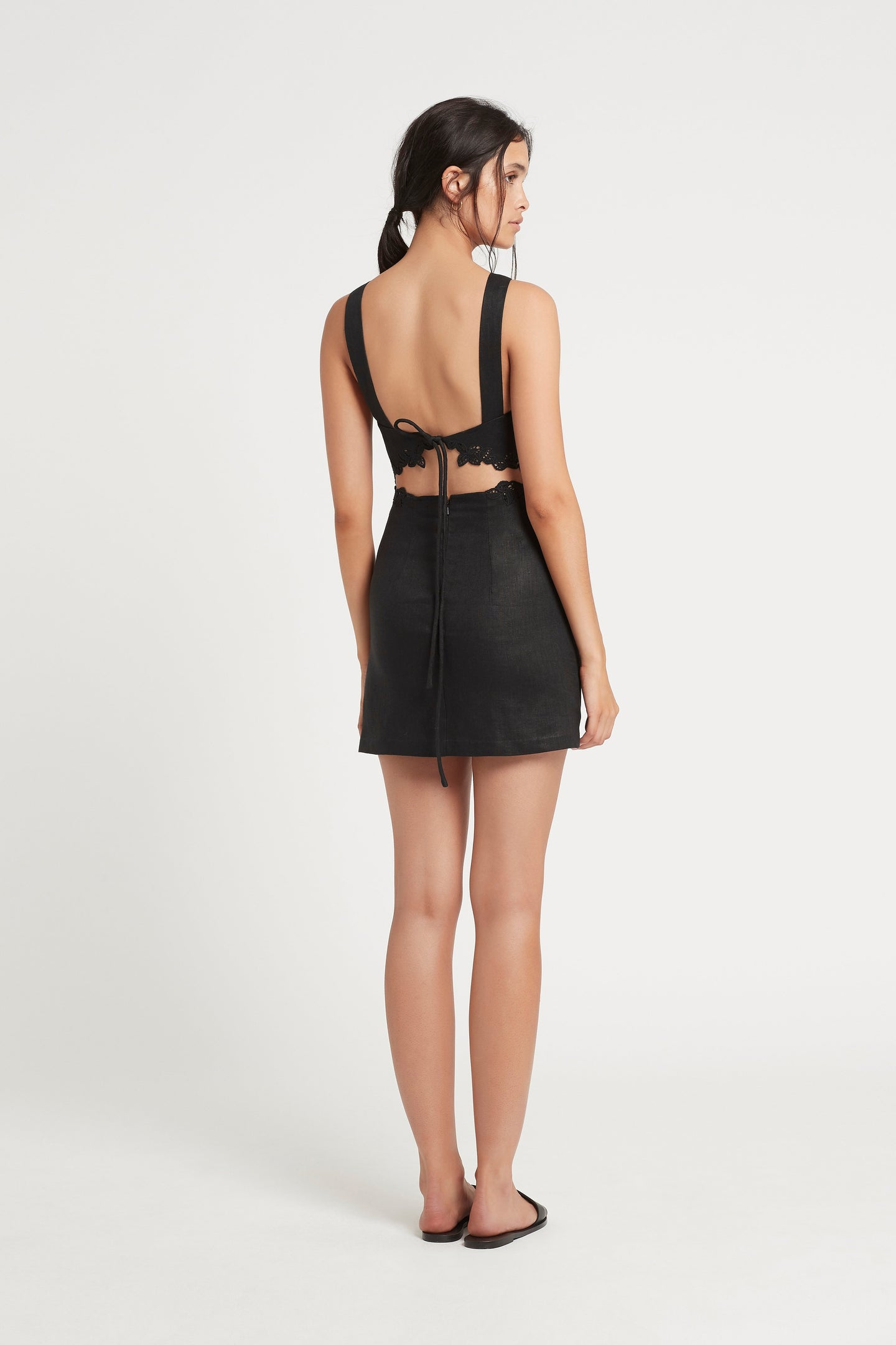 SIR the label ALENA TIE BACK MINI DRESS BLACK