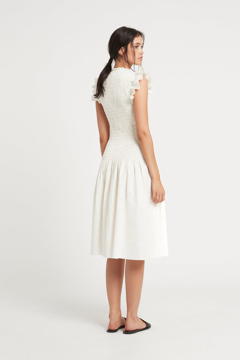 SIR the label EMILE RUCHED MIDI DRESS IVORY