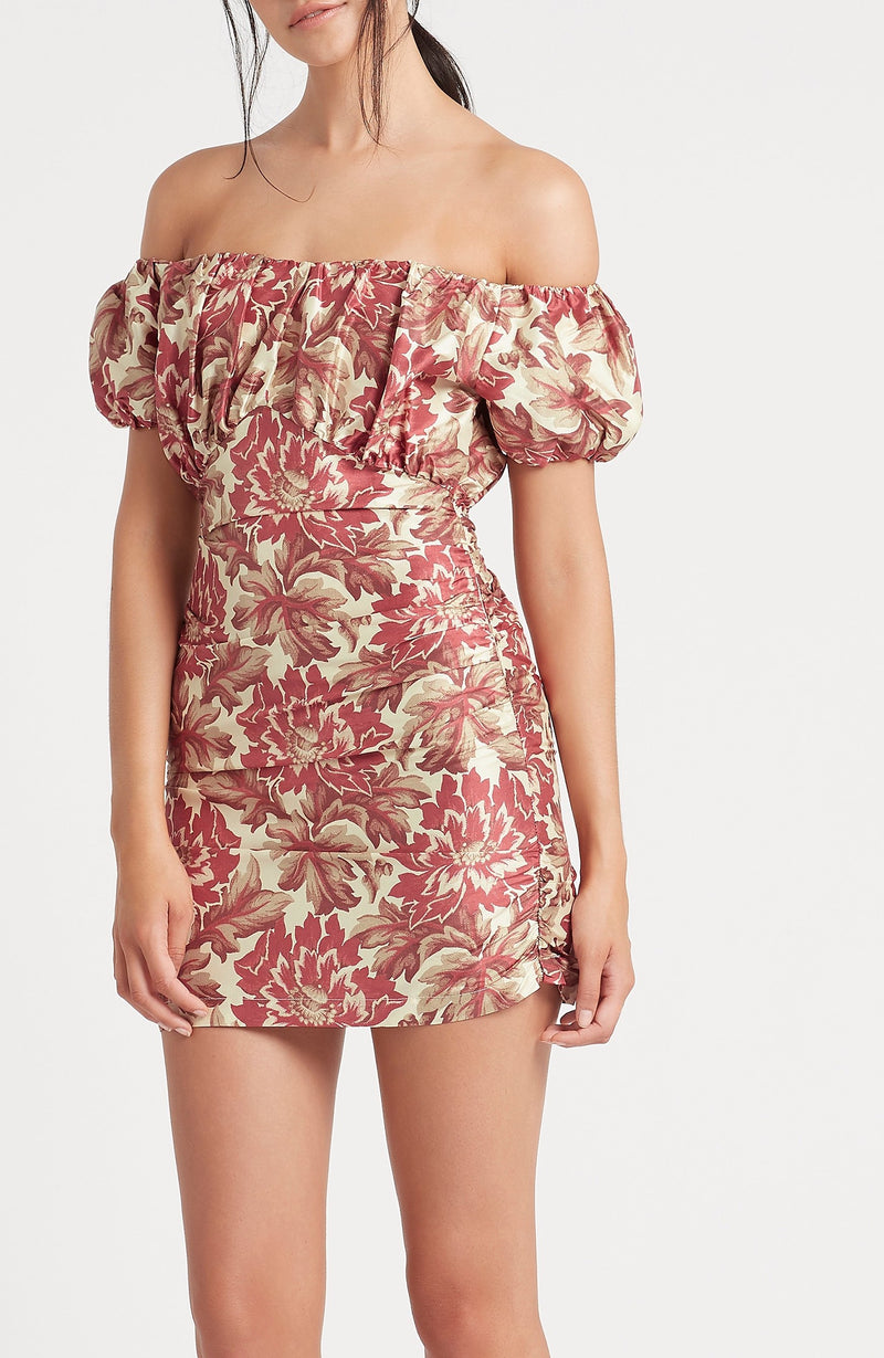 SIR the label VALETTA OFF SHOULDER MINI DRESS VALETTA PRINT
