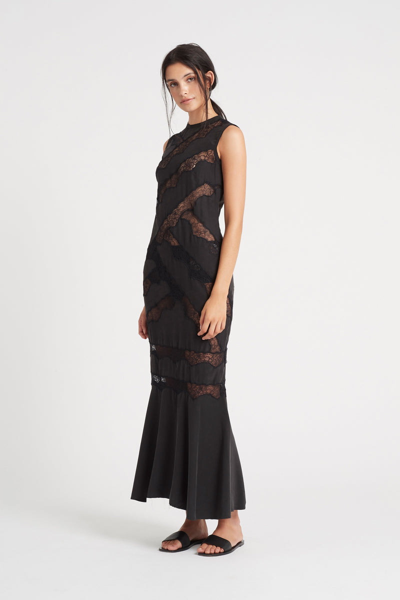 SIR the label ALMA PANELLED GOWN BLACK