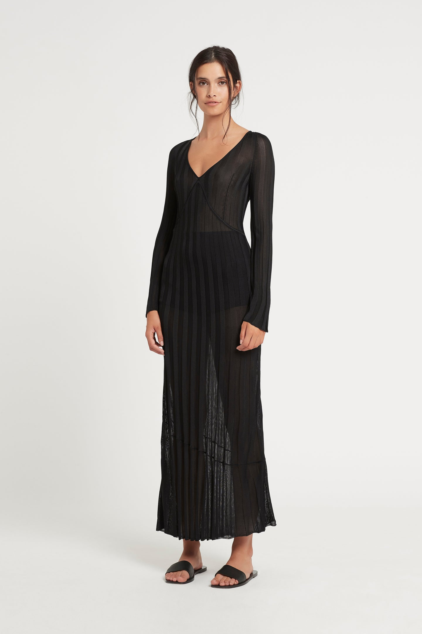 SIR the label AYA V NECK MIDI DRESS BLACK