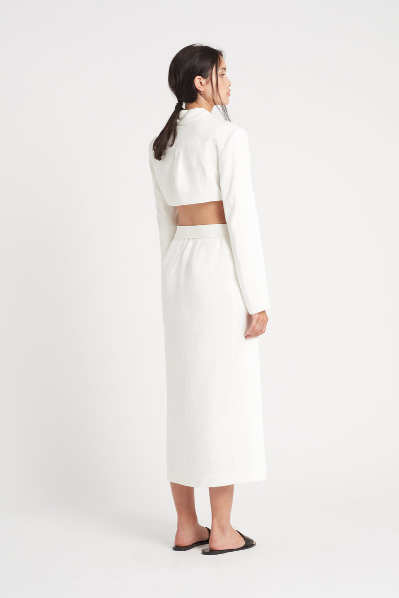 SIR the label PASCALE CUT OUT MIDI DRESS IVORY